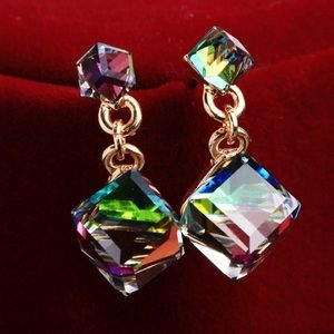 cube earrings multicolor crystal